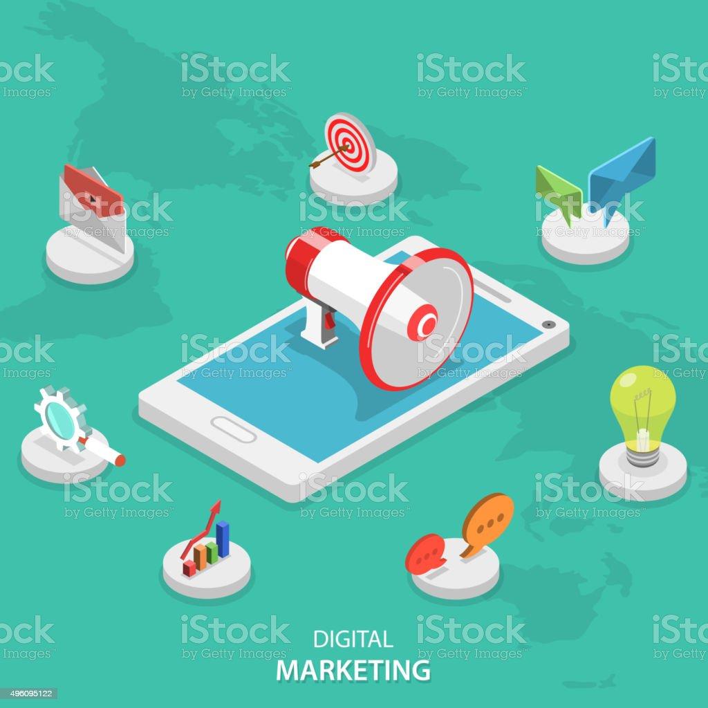Digital marketing flat vector isométrica concepto. - ilustración de arte vectorial