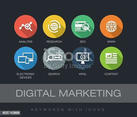 Digital Marketing chart with keywords and icons. Flat design with long shadows