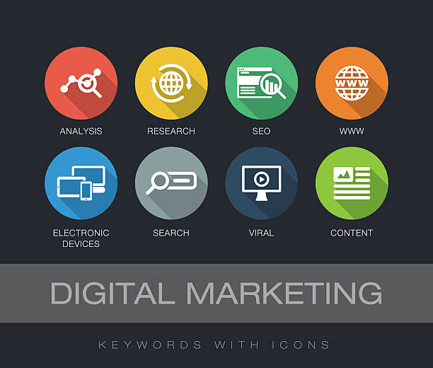 digital marketing keywords with icons - social media infografiken stock-grafiken, -clipart, -cartoons und -symbole