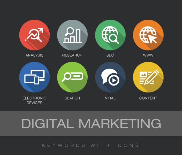 digital marketing keywords with icons - seo stock illustrations, clip art, cartoons, & icons
