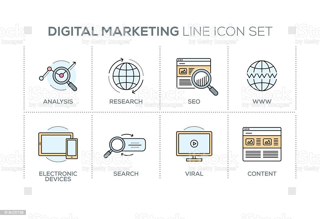 Digital Marketing keywords with line icons vector art illustration