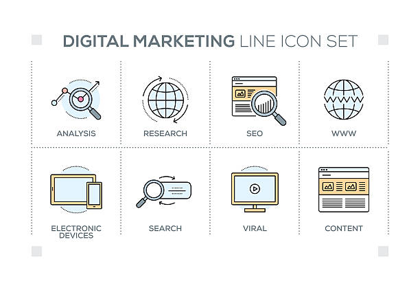 Digital Marketing keywords with line icons ベクターアートイラスト