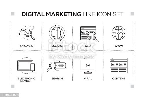 Digital Marketing chart with keywords and monochrome line icons