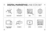 Digital Marketing keywords with monochrome line icons