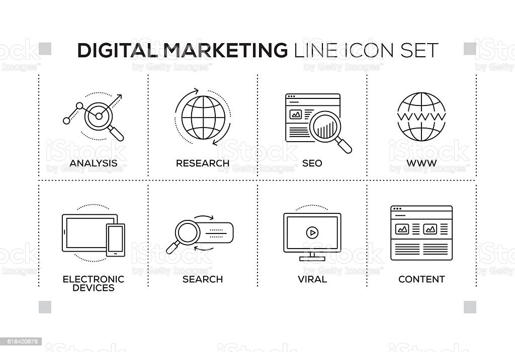 Digital Marketing keywords with monochrome line icons vector art illustration