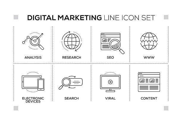 digital marketing keywords with monochrome line icons - digital marketing stock illustrations