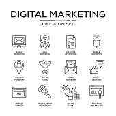 Digital Marketing Line Icon Set