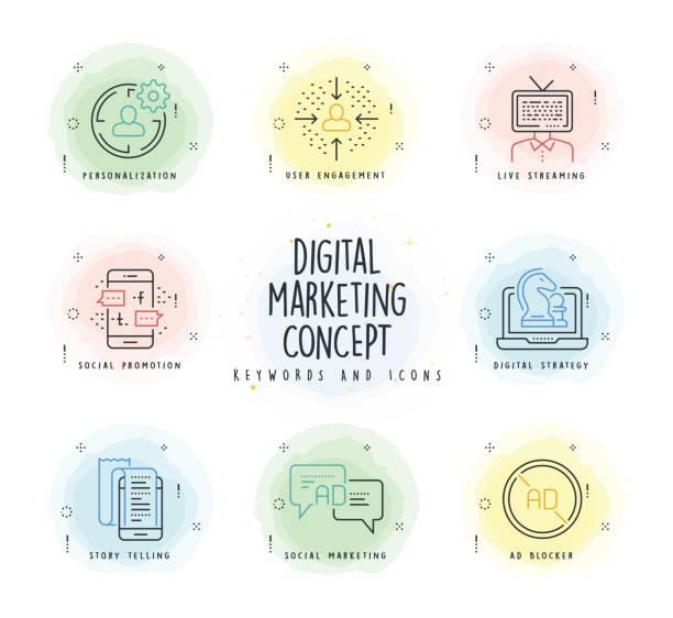 digitales marketing-linie-icon-set mit aquarell-patch - lesestrategien stock-grafiken, -clipart, -cartoons und -symbole