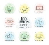Digital Marketing Line Icon Set with Watercolor Patch