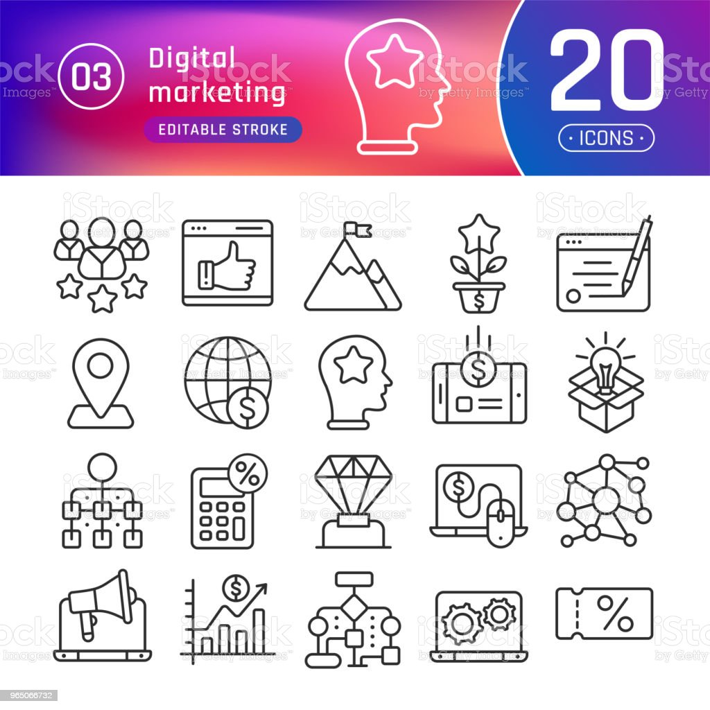 Digital marketing line icons set. Suitable for banner, mobile application, website. Editable stroke royalty-free digital marketing line icons set suitable for banner mobile application website editable stroke stock vector art & more images of billboard