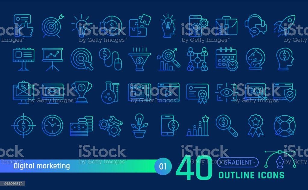 Digital marketing line icons set. Suitable for banner, mobile application, website. royalty-free digital marketing line icons set suitable for banner mobile application website stock vector art & more images of billboard