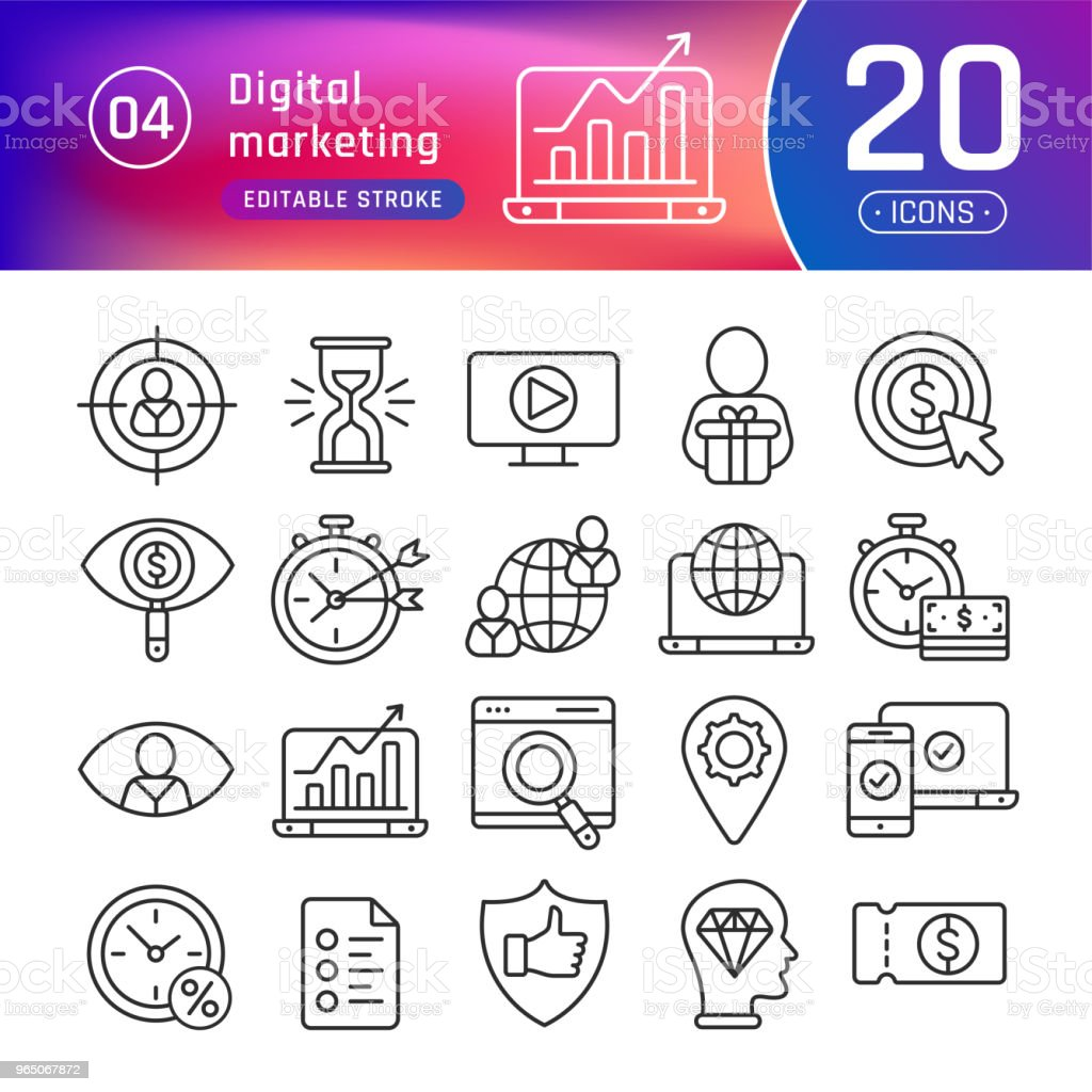 Digital marketing line icons set. Suitable for banner, mobile application, website. Editable stroke digital marketing line icons set suitable for banner mobile application website editable stroke - stockowe grafiki wektorowe i więcej obrazów aktówka royalty-free