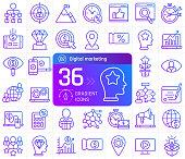 Digital marketing line icons set. Suitable for banner, mobile application, website.