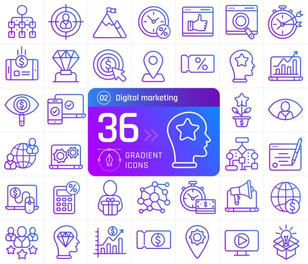 digital marketing line icons set. suitable for banner, mobile application, website. - digital marketing stock illustrations