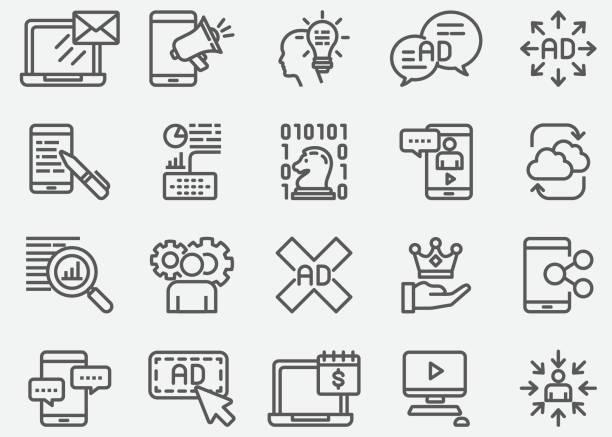 digitales marketing linie symbole - lesestrategien stock-grafiken, -clipart, -cartoons und -symbole