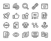 Digital Marketing Line Icons Vector EPS File.