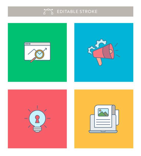 digital marketing mini icon set mit bearbeitbaren strich und pixel perfekt. - storytelling grafiken stock-grafiken, -clipart, -cartoons und -symbole