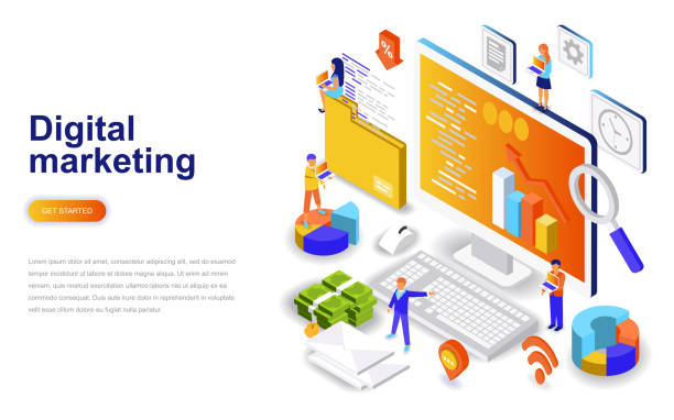 Digital marketing modern flat design isometric concept. Digital marketing modern flat design isometric concept. Advertising and people concept. Landing page template. Conceptual isometric vector illustration for web and graphic design. digital marketing stock illustrations