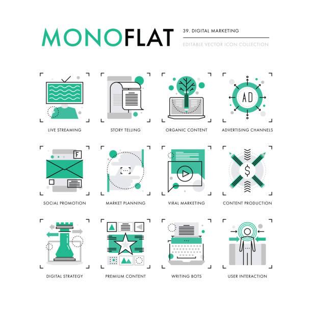 digitales marketing monoflat symbole - lesestrategien stock-grafiken, -clipart, -cartoons und -symbole
