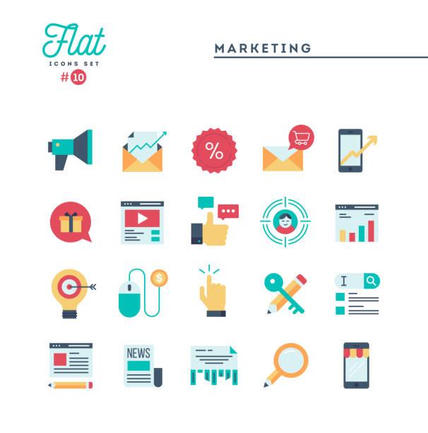 digitales marketing, online business, zielgruppe, pay-per-klick und mehr, flache symbole festlegen - flat design stock-grafiken, -clipart, -cartoons und -symbole