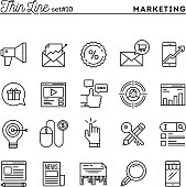 Digital marketing, online business, target audience, pay per click and more, thin line icons set, vector illustration