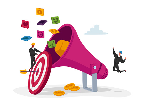 Digital Marketing, Public Relations and Affairs, Communication. Pr Agency Tiny Characters Team Work with Huge Megaphone