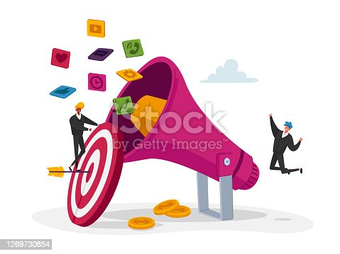 istock Digital Marketing, Public Relations and Affairs, Communication. Pr Agency Tiny Characters Team Work with Huge Megaphone 1269730854