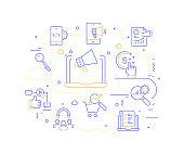 Digital Marketing Related Modern Line Style Vector Illustration