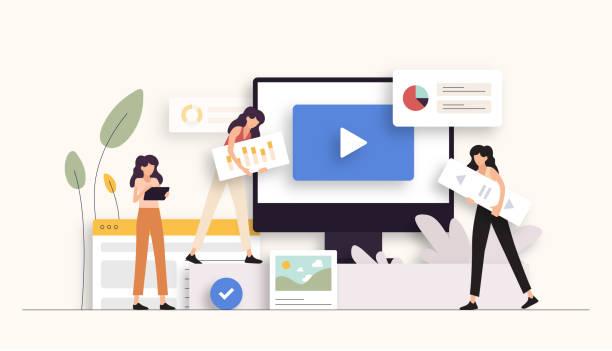 ilustrações, clipart, desenhos animados e ícones de ilustração do vetor relacionado ao marketing digital. design moderno plano - social media
