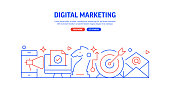 Digital Marketing Related Web Banner Line Style. Modern Linear Design Vector Illustration for Web Banner, Website Header etc.