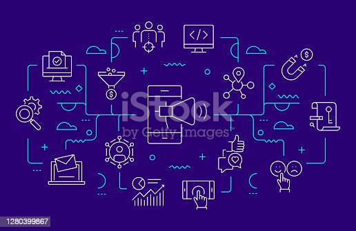 Digital Marketing Related Web Banner Line Style. Modern Linear Design Vector Illustration