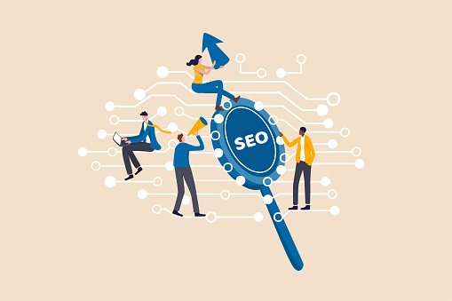 Digital marketing, SEO, Search Engine Optimization or Social media to engage online user concept, young people, advertising agency worker working on internet and digital line with SEO magnifying glass