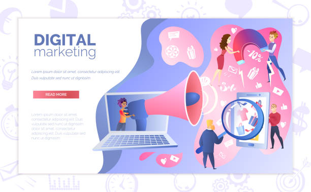 Digital Marketing Service Website Vector Template Digital Marketing Online Service Web Banner with Multi Ethnic People Working Together to Advertise Goods in Internet Illustration. Effective Promotional and Advertising Campaign on Web Landing Page sem stock illustrations