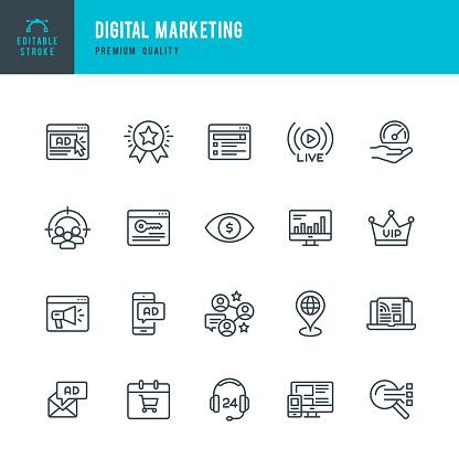 Digital Marketing - set of thin line vector icons