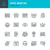 Set of Internet Marketing thin line vector icons