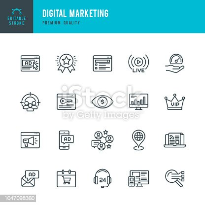 Set of Internet Marketing thin line vector icons