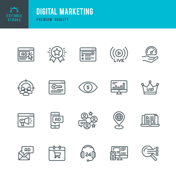illustrazioni stock, clip art, cartoni animati e icone di tendenza di digital marketing - set of thin line vector icons - social media