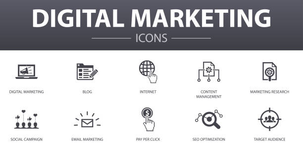 Digital marketing simple concept icons set. Contains such icons as internet, Marketing research, Social campaign, Pay per click and more, can be used for web, logo, UI/UX Digital marketing simple concept icons set. Contains such icons as internet, Marketing research, Social campaign, Pay per click and more, can be used for web, logo, UI/UX digital marketing stock illustrations