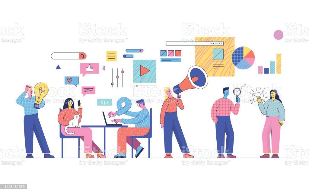 Estratégias de marketing digital - Vetor de Adulto royalty-free