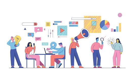Vetores de Estratégias De Marketing Digital e mais imagens de Adulto
