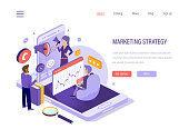 Digital marketing strategy. Social network, media planning, social media, business financial analysis, company promotion, marketing research, business analytics, content strategy isometric vector.