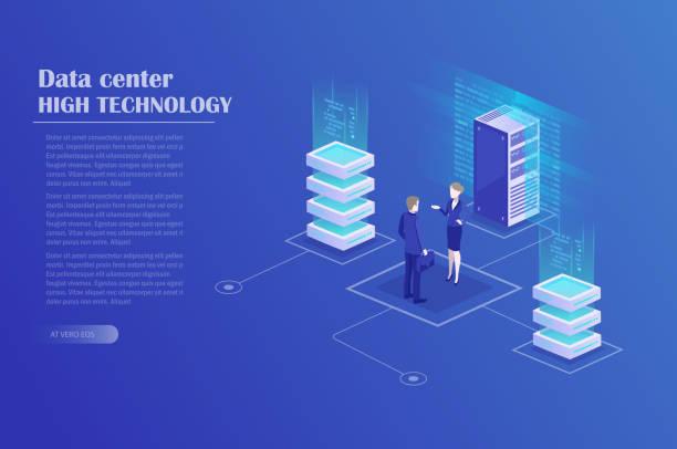 digital marketing strategy - computer server room stock illustrations
