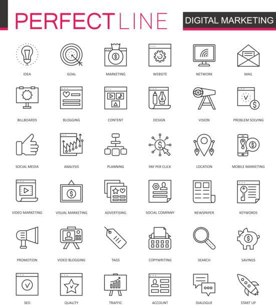 digital marketing thin line web icons set. online business outline stroke icons design. - digital marketing stock illustrations
