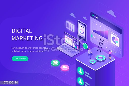 Digital marketing concept. Can use for web banner, infographics, hero images. Flat isometric vector illustration with modern gradient.