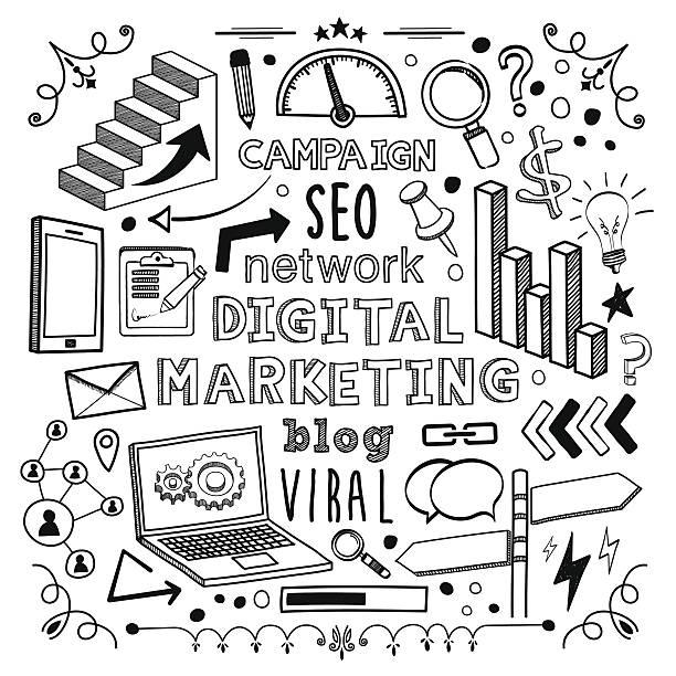 ilustrações de stock, clip art, desenhos animados e ícones de marketing digital - writing ideas