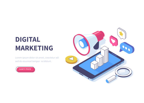 digital marketing Digital marketing concept. Can use for web banner, infographics, hero images. Flat isometric vector illustration isolated on white background. digital marketing stock illustrations