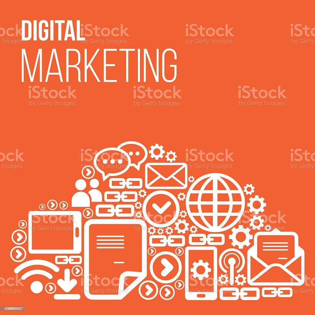 Digital Marketing Vector with icons vector art illustration