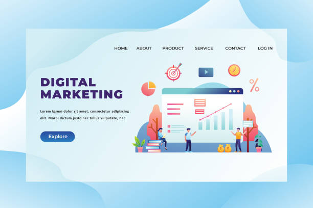 Digital Marketing - Web Page Header Landing Page Template Illustration Digital Marketing - Web Page Header Template Illustration using for landing page, ui, web banners, mobile apps, intro card, print, flyer, event graphics and much more digital marketing stock illustrations