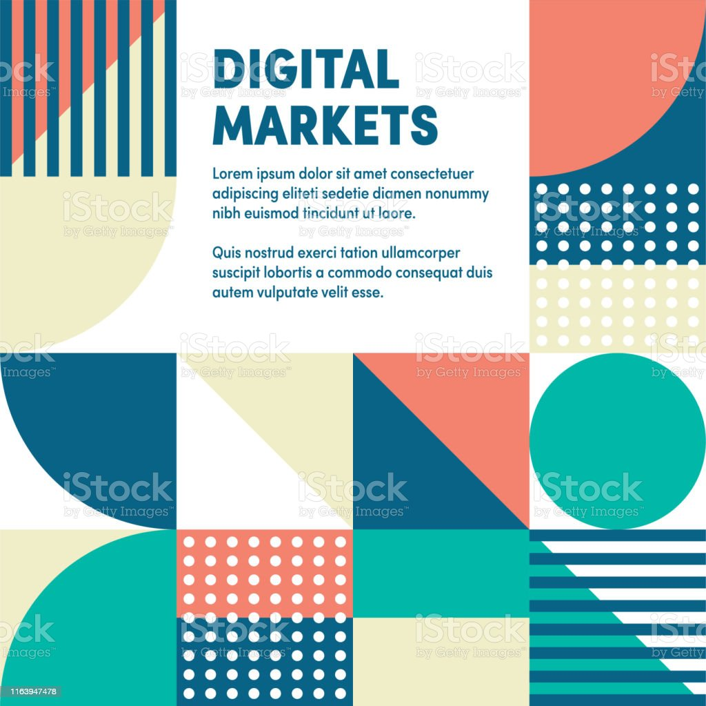 Abstract vector digital markets web banner and advertisement design....