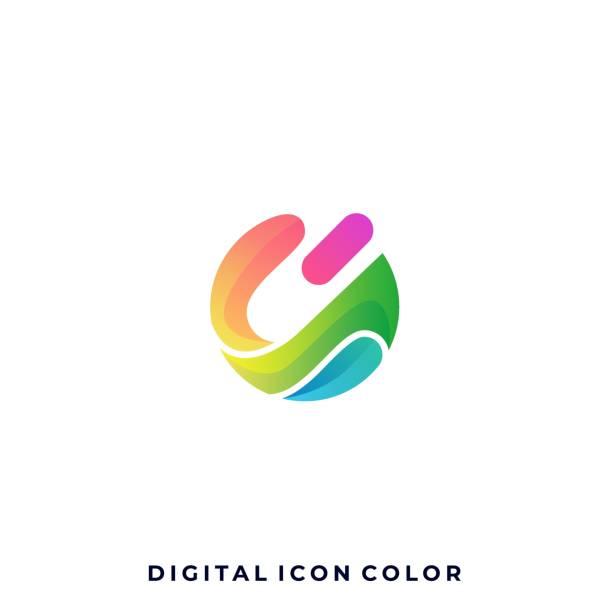 bildbanksillustrationer, clip art samt tecknat material och ikoner med digitala medier ikon färgglada illustration vektor designmall - social media post template
